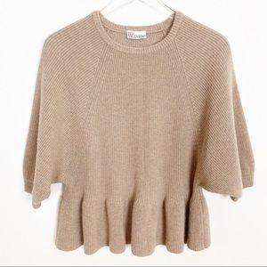 RED Valentino tan peplum sweater